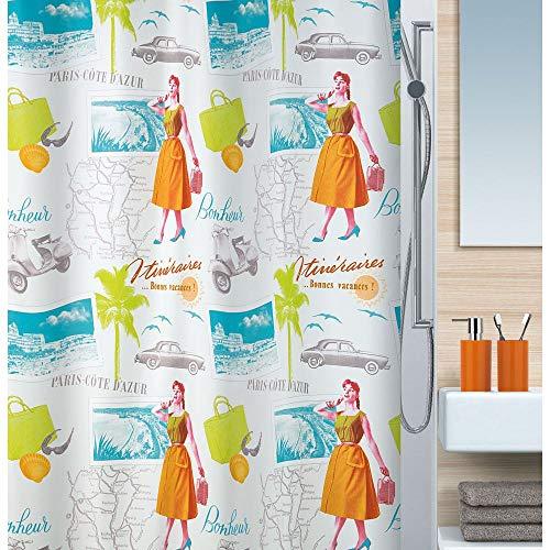 Spirella Anti-Schimmel Duschvorhang Fifties Anti-Bakteriell, waschbar, wasserdicht Polyester 180x200cm Bunt Weiß