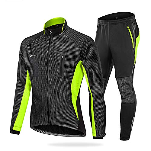 NUCKILY Herren Fahrradbekleidung Set Winddicht Thermo Fleece Winterjacke MTB Bekleidung Rennrad Fahrrad Trikot Langarm und Fahrradhose mit 3D Sitzpolster (ME020 Grün, L)