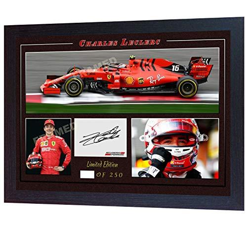 SGH SERVICES Gerahmtes Autogramm von Charles Leclerc Ferrari Formel 1, signiertes Autogramm, Fanartikel, MDF-Rahmen