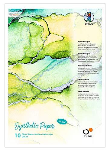 URSUS 16274000 Yupo Synthetic Paper, DIN A3, 10 Blatt, 192 g/qm, synthetisch, Glatte Oberfläche, reiß-und wasserfest, UV lichtecht, extrem strapazierfähig, 100% recyclebar, vielseitig verwendbar, weiß