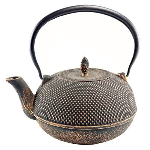 Palatina Werkstatt ® große, handgefertigte, japanische Teekanne/Gusskanne sehr hochwertig verarbeitet, schwarz-Gold, 1,8 Liter