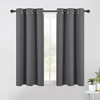 NICETOWN Bedroom Curtains Blackout Drapery Panels, Three Pass Microfiber Thermal Insulated Solid Ring Top Blackout Window ...
