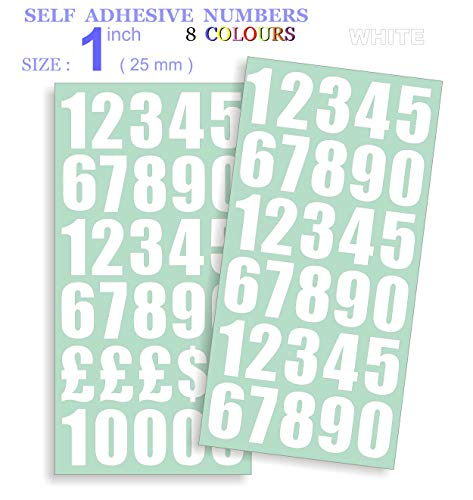 Vehicles White Vinyl Sticky Letters /& Numbers Boats Pack of 356 x 0.5 Posters /& School Projects Self-Adhesive Waterproof Lettering for Signs 12.7mm Cut-to-Shape Stick on