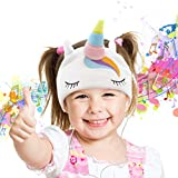 PicassoTiles 85dB Kid Safe Volume Limiting Soft Fleece Headphone Headset Sleep Mask w/Ultra-Thin 1/8' Speakers, Durable Braided Cord, Adjustable Cozy Headband, Build-in Microphone PTM272-UNC