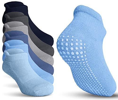 Toddler Socks Non Slip - Trampoline Socks – Kids Grip Socks for Baby Boys & Girls - 6 Pairs