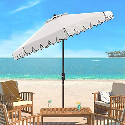 Safavieh PAT8010E Collection Venice White and Black Single Scallop 9Ft Crank Outdoor Push Button Tilt Umbrella