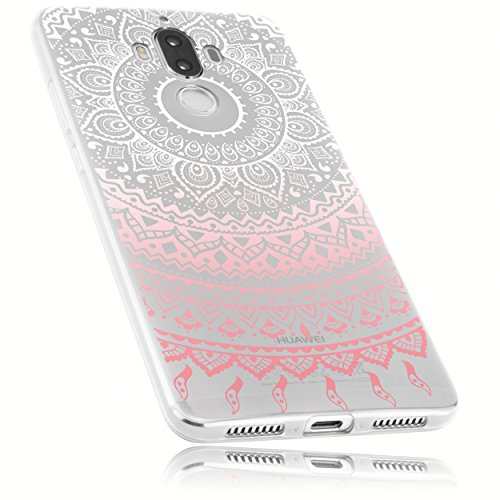 mumbi Hülle kompatibel mit Huawei Mate 9 Handy Hülle Handyhülle dünn mit Motiv Mandala rosa, transparent