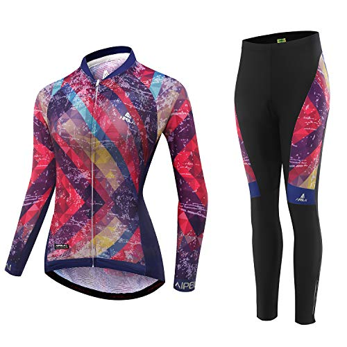 AIPEILEI Women's Cycle Jersey Long Sleeve Road Bike Mountain Riding Wear with Padded Long Pants Cycling Sets for Women Red
