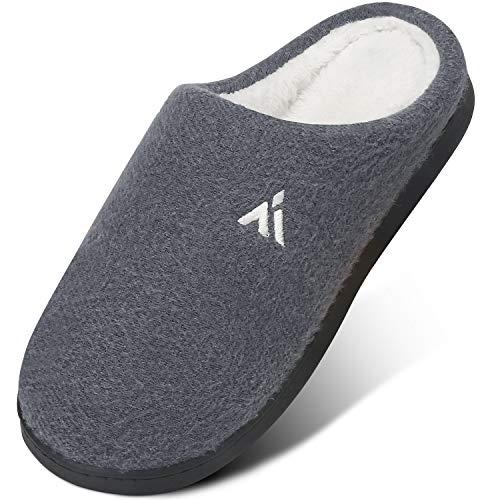 Mishansha Unisex Zapatillas de Fieltro Pantuflas Hombre Zapatillas de Estar por Casa Invierno Zapatos Casa Comodos Mujer, Gris Oscuro 41
