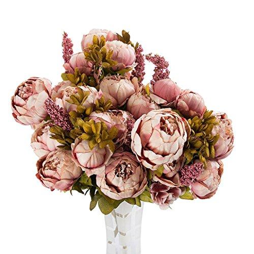 Vintage Pfingstrose Rosennie 3 Bouquet 24 Heads Künstliche Pfingstrose Seidenblume Blatt Home Hochzeit Party Decor Schön Künstlich Blumen Pfingstrosen Künstliche Blume Blumenstrauß
