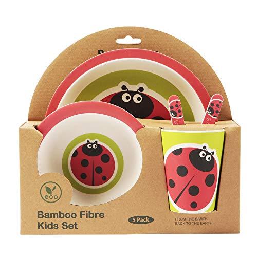 ORNAMI 5-teiliges Bambus-Geschirrset für Kinder, Marienkäfer - Kinder-Geschirrset mit Teller, Kleinkindbesteck, Bambusfaser Schale und Kinderbecher - umweltfreundlich, BPA-frei und spülmaschinenfest