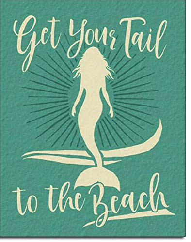 New Vintage Retro Metal Tin Sign Get Your Tail Beach Mermaid Street Garage & Home Bar Club Kitchen Hotel Wall Decor Metal Plaque Sign 16x12Inch