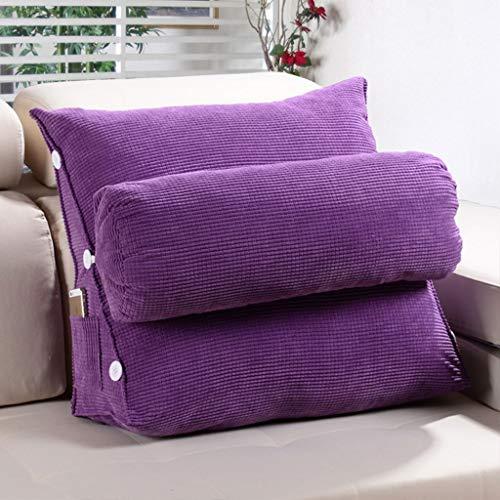 Bett Liest Bed-Rest-Kissen Mit Abnehmbarem Bezug Kopfkeilkissen Gepolstert Lumbalpelotte Triangular Rückenlesekissen (Color : Purple, Size : 60x50x20cm)