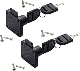 2 Pack/Sets Drawer Lock Furniture Cabinet Door Lock Wardrobe File Cabinet Square Tongue Lock with Separate Key (Black)