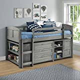 Naomi Home Heather Low Loft Louver Bed Antique Gray/Twin/Bed with 3 Drawer Chest, Large Bookcase and Small 2 Drawer Bookcase