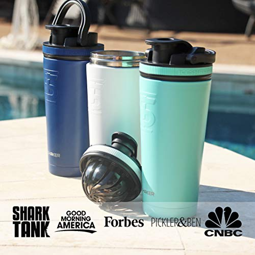 Ice Shaker Stainless Steel Insulated Water Bottle Protein Mixing Cup (As seen on Shark Tank) (Mint, 26oz)