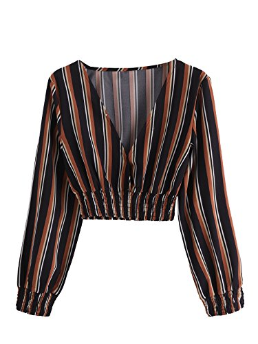 MakeMeChic Women's Casual Long Sleeve V Neck Striped Crop Blouse Top Multi L