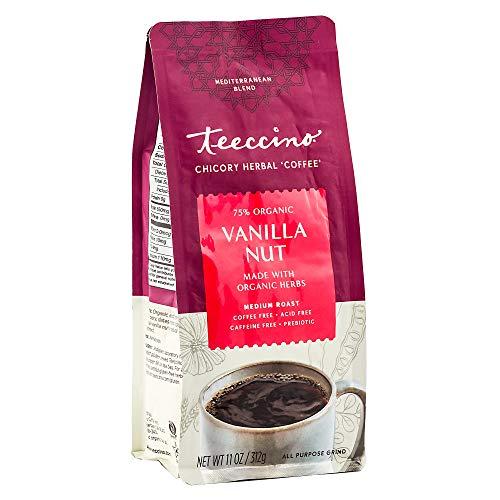 Teeccino Chicory Coffee Alternative - Vanilla Nut - Ground Herbal Coffee That's Prebiotic, Caffeine Free & Acid Free, Medium Roast, 11 Ounce