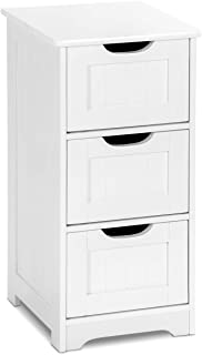 Tangkula Floor Cabinet, 3 Drawers Wooden Storage Cabinet for Home Office Living Room Bathroom Side Table Sturdy Bedroom Night Stand, White (12 x 12 x 25)