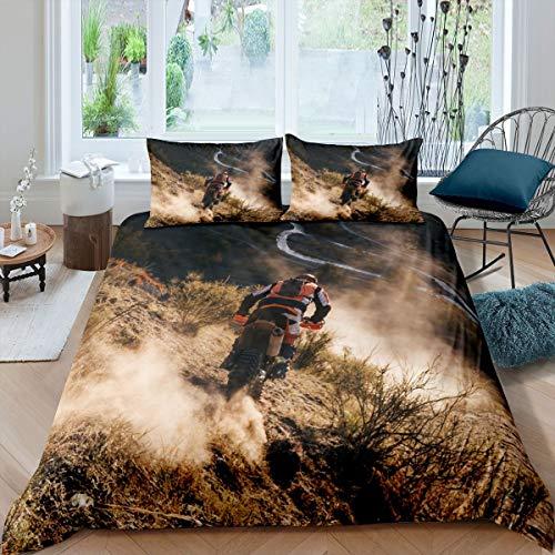 Loussiesd Juego de ropa de cama para niños y niñas con diseño de bicicleta de montaña y deportes extremos, funda de edredón para decoración de bicicleta de montaña, 3 piezas, Super King