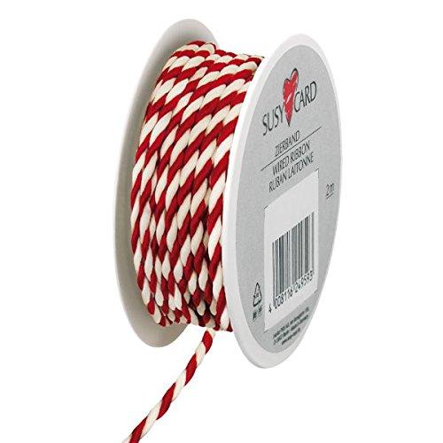 Susy Card 40003542 Weihnachts-Kordel, 2mx3mm, auf Kleinspule, Textile Kordel, 1 Stück, Lido, Rot/Weiß