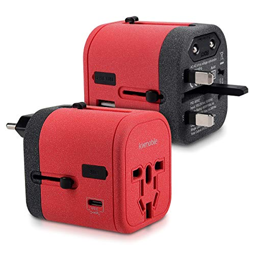 kwmobile Reiseadapter 4 USB Ports 3A Typ C Port - Universal Reise Adapter Steckdosen Stecker - Reisestecker Steckdosenadapter 150 Länder - Rot