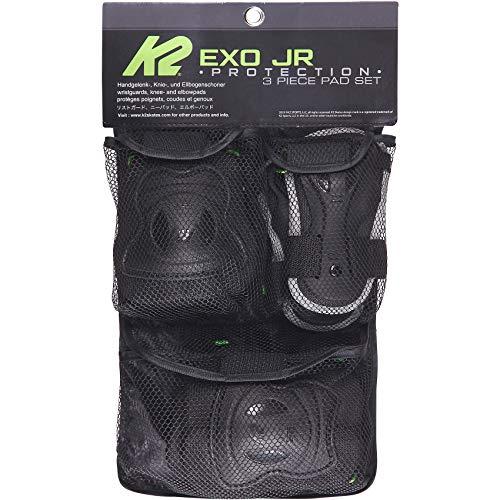 K2 Skates Unisex Jugend Schonerset Exo Jr Pad Set — black - grey - green — L (Knee: A:42-47cm B:39-44cm / Elbow: A:29-33cm B:28-32cm / Wrist: A:22-24cm B:19-21cm) — 30E1220