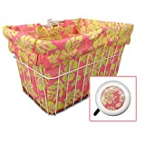 Cruiser Candy Bicycle Basket Liner & Tote in One, Stylish Bike Basket Liner, Yoga Bag,Gym Bag,Beach Bag. Matching Bicycle Bell Included, Bike Bell (Pink Yellow Hibiscus)