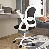 Sytas Office Chair Ergonomic Desk Chair,Rolling Swivel Mesh Computer Task Chair with Flip-up Arms Lumbar Support and Height Adjustable,White