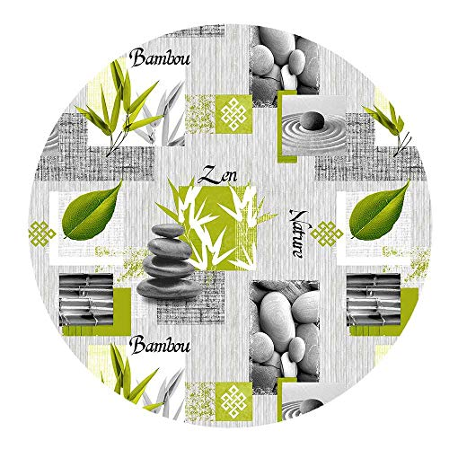 DecoHomeTextil Wachstuchtischdecke Wachstuch Tischdecke Gartentischdecke Rund Oval Bambou Zen Rund ca. 140 cm abwaschbare Wachstischdecke
