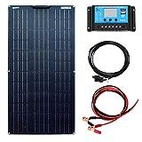 YUANFENGPOWER Kit pannello solare 100W 12V modulo solare monocristallino flessibile Regolatore solare 10A per camper, barca, tenda, auto, roulotte, rimorchio, caricabatterie 12V (100)