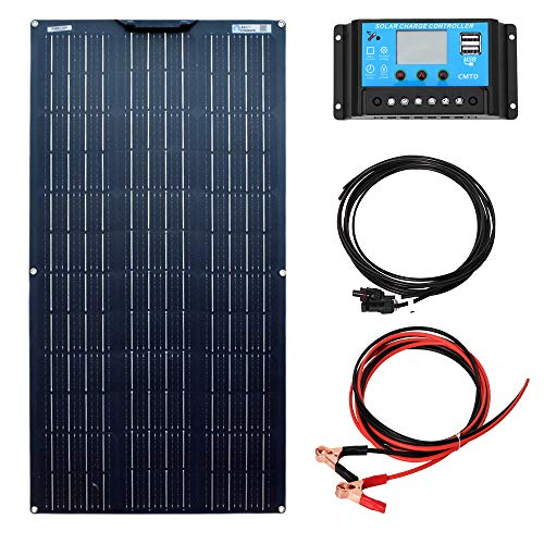 YUANFENGPOWER 100W 18V Solarpanel Kit Flexibles monokristallines Solarmodul 10A Controller für Wohnmobil, Boot, Zelt, Auto, Wohnwagen, Anhänger, 12V Batterieladegerät