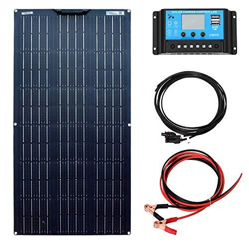 YUANFENGPOWER 100W 18V Solarpanel Kit Flexibles monokristallines Solarmodul 10A Controller für Wohnmobil, Boot, Zelt, Auto, Wohnwagen, Anhänger, 12V Batterieladegerät (100)