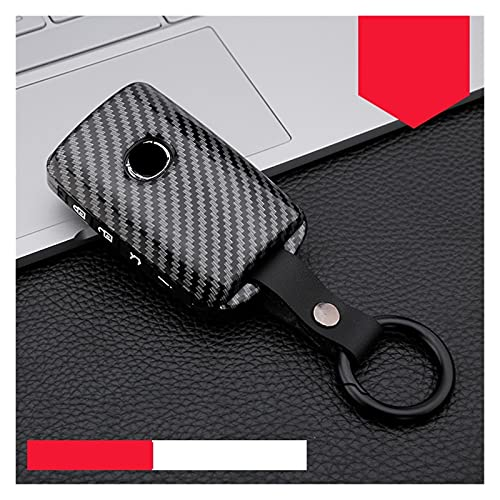 ZHENGJI Fibra DE Carbono ABS Coche Cubierta DE CUERCA Cubierta Ajuste para Mazda 3 Alexa CX4 CX5 CX8 3/4 Botón Smart Remote Fob Fob Protector Bolso DE LÓTANCE (Color Name : 4button Carbon Black)