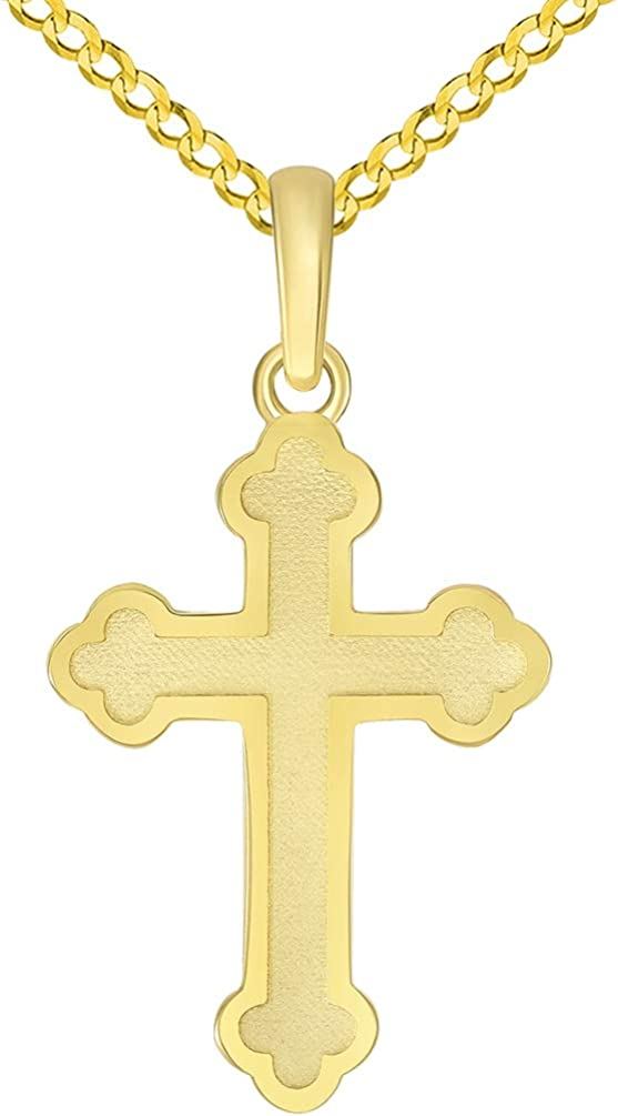 A surprise price is realized 14k Solid Yellow Gold Eastern Orthodox Cross Curb Pendant with C Colorado Springs Mall