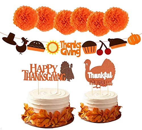 TA BEST 9 Piece Thanksgiving Party Decorations Supplies Kit| Thanksgiving Cake Topper Tissue Pom Pom for Fall Autumn Party, Dining Table, Outdoor, Home Office D¨¦cor