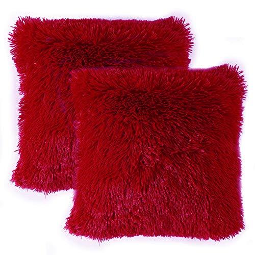 MIULEE 2er Set Soft Künstlich Pelz Throw Kissenbezüge Set Dekorative Dekokissen Kissen Fall für Sofa Schlafzimmer Auto 24x24inch 60x60 cm Rot