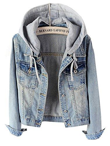 CYSTYLE 2018 Frauen Mäntel Herbst und Winter Damen Jeansjacke Vintage Mädchen Denim Jeans Jacke Mantel Beiläufige Outwear mit Kapuzen (Hellblau, EU M=Asia XL)