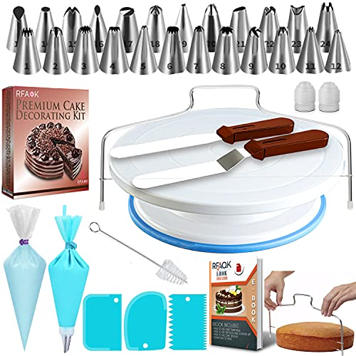 RFAQK 65 Pcs Cake Decorating Set Equipment with Cake Turntable-Cake leveler-24 Numbered Piping Tips & EBook- Straight & Offset Spatula-1 Silicon Bag-30 Icings Bags- 3 Icing Smoother Scraper Set