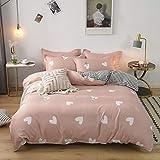 BH-JJSMGS Vierteilige Bettwäsche aus reinem Baumwollvlies, Leichter Bettbezug aus Mikrofaser, Herzwort 200 * 230 cm