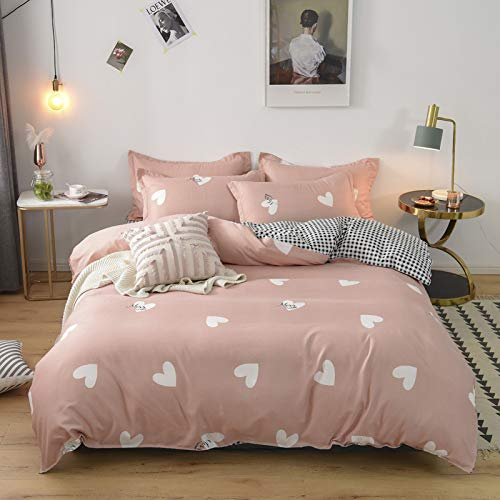 BH-JJSMGS Vierteilige Bettwäsche aus reinem Baumwollvlies, Leichter Bettbezug aus Mikrofaser, Herzwort 150 * 210 cm