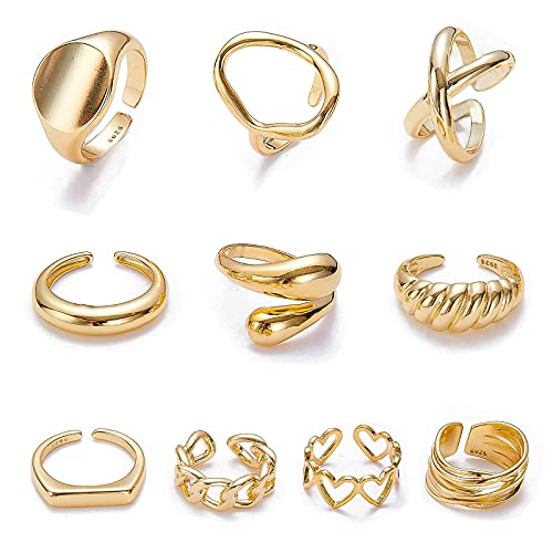 MOROYA 10PCS Gold Dome Chunky Rings for Women 18K Gold Plated Braided Twisted Round Signet Rings Adjustable Open Ring Band Statement Jewelry Size 7-9