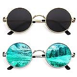 CGID E01 John Lennon Polarized Sunglasses for Women Men Circle Round Retro Vintage Sun Glasses Circular Shades 2 Pack, Small 45mm, Simple Package