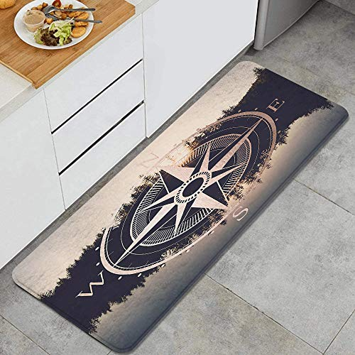 """Home Decor Personalized Memory Foam Anti-Fatigue Kitchen Floor Mat,Rose Gold Compass Forest,Comfort Office Standing Area Rug Carpet Non Slip,47.2"""" x 17.7"""""""