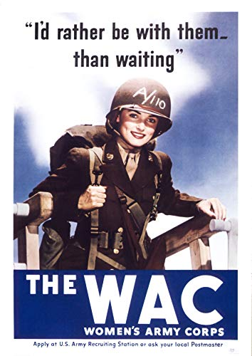 UpCrafts Studio Design American WW2 Propaganda Poster - Women's Army Corp - WWII US WAC Military History Prints Replicas (24x36 inches, Unframed Prints)