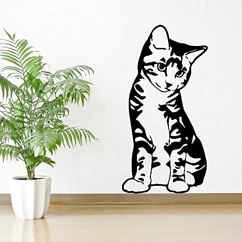 yaonuli Katzenartige sitzende Haustier Katze Wandmalerei Schlafzimmer Wohnzimmer Dekoration Vinyl Wandaufkleber 30x50cm