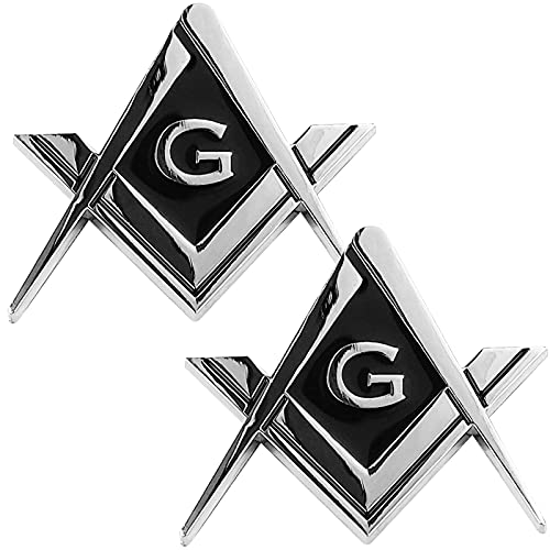 2 Pack 2.75' Chrome Plated Masonic Car Emblem Mason Square and Compasses Auto Truck Motorcycle Decal Gift Accessories