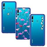 Yoowei [3-Pack] Cover per Honor 20 Lite Custodia Huawei P Smart Plus 2019 Trasparente con Disegni, Morbida Silicone Ultra Sottile TPU Gel Cover Protettiva, Aeroplano + Fenicotteri + Panda