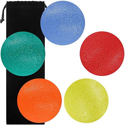 SourceTon Fidgets bola de alivio de estrés, forma redonda, dedos y agarre fortalecimiento de terapia, ideal para rehabilitación física y fortalecedor de agarre, paquete de 5 bolas de apriete