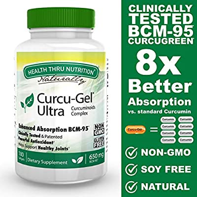 Curcu-Gel Ultra 650 mg BCM-95 Enhanced Absorption Bio-Curcumin Complex (500mg total Curcuminoids with Essential Oils of Turmeric Rhizome) 180 Softgels from Tishcon
